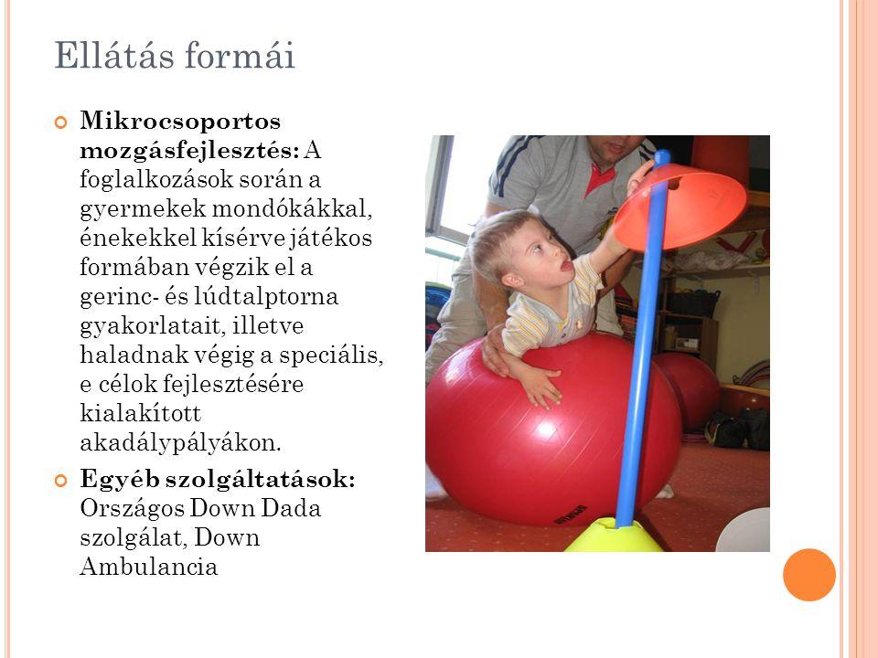 Ellátás formái Mikrocsoportos mozgásfejlesztés: A foglalkozások során a gyermekek mondókákkal, énekekkel kísérve játékos formában végzik el a gerinc-