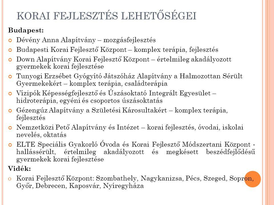 KORAI FEJLESZTÉS LEHETŐSÉGEI Budapest: Dévény Anna Alapítvány – mozgásfejlesztés Budapesti Korai Fejlesztő Központ – komplex terápia, fejlesztés Down