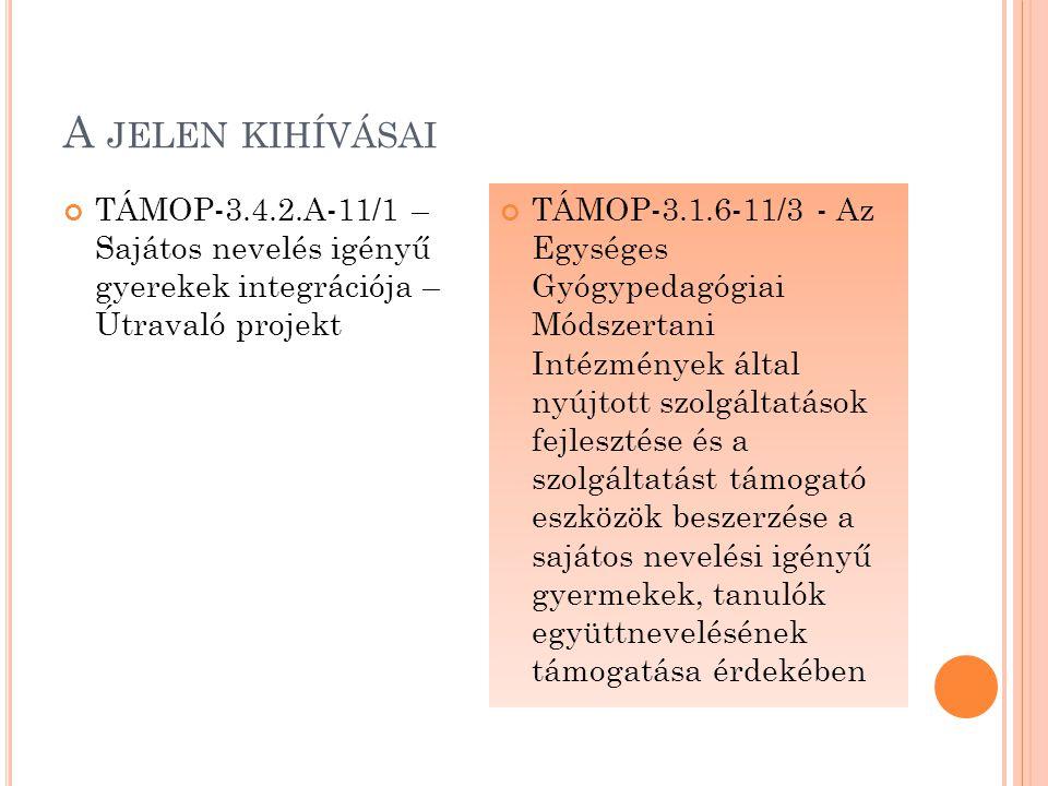 A JELEN KIHÍVÁSAI TÁMOP-3.4.2.A-11/1 – Sajátos nevelés igényű gyerekek integrációja – Útravaló projekt TÁMOP-3.1.6-11/3 - Az Egységes Gyógypedagógiai