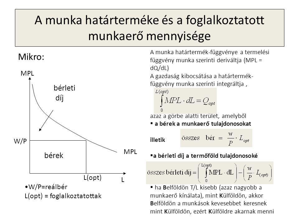 A munka határterméke és a foglalkoztatott munkaerő mennyisége Mikro: MPL bérleti díj bérek L MPL W/P •W/P=reálbér L(opt) = foglalkoztatottak L(opt) A