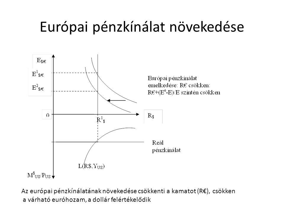 Európai pénzkínálat növekedése Az európai pénzkínálatának növekedése csökkenti a kamatot (R€), csökken a várható euróhozam, a dollár felértékelődik