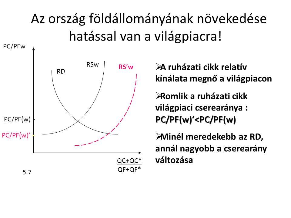 A PC/PF(w) csökkenésének (vissza)hatása az országra • 1pont a növekedés előtti termelés • Az országban Pé/Pi(w)'<Pé/Pi(w), • ugyanannyi exportért kevesebb import • Romlik a növekedésből származó előny • Nyomorba taszító növekedés (U D1 >U D3 ) Pé/Pi(w) Pé/Pi(w)' x 3 QF 2 x 1 x x D1 D3 x