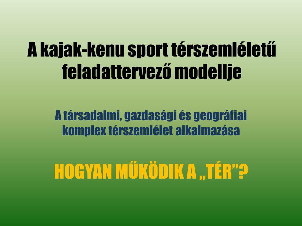"""A kajak-kenu sport térszemléletű feladattervező modellje A társadalmi, gazdasági és geográfiai komplex térszemlélet alkalmazása HOGYAN MŰKÖDIK A """"TÉR ?"""