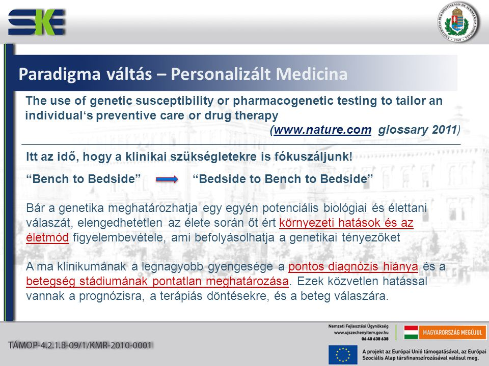 Paradigma váltás – Personalizált Medicina The use of genetic susceptibility or pharmacogenetic testing to tailor an individual's preventive care or dr