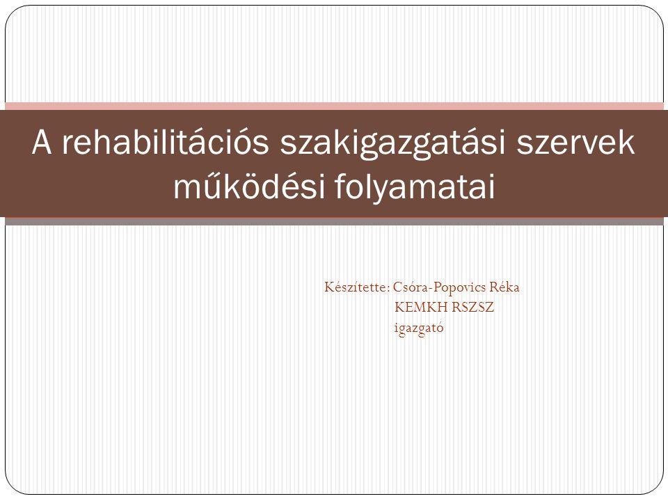 Készítette: Csóra-Popovics Réka KEMKH RSZSZ igazgató A rehabilitációs szakigazgatási szervek működési folyamatai