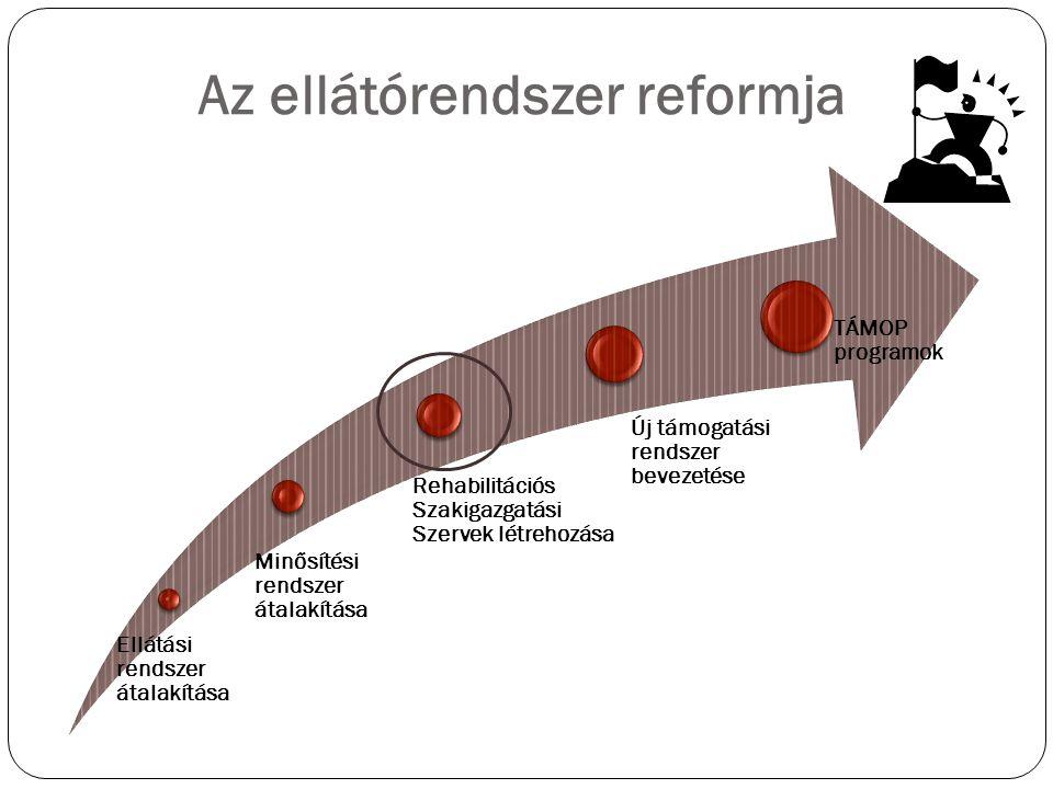 Az ellátórendszer reformja Ellátási rendszer átalakítása Minősítési rendszer átalakítása Rehabilitációs Szakigazgatási Szervek létrehozása Új támogatási rendszer bevezetése TÁMOP programok
