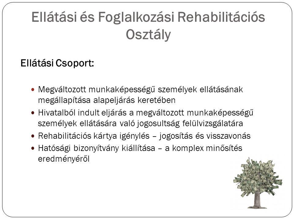 Ellátási és Foglalkozási Rehabilitációs Osztály Foglalkozási rehabilitációs csoport:  Rehabilitációs járadékban és rehabilitációs ellátásban részesülő ügyfelekkel kapcsolatos kötelező együttműködés a sikeres munkaerő-piaci integráció érdekében  Rehabilitációs célú munkaközvetítés  Együttműködés a 327/2012.