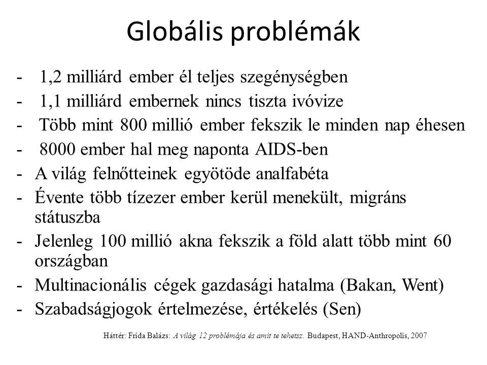 Globális problémák - 1,2 milliárd ember él teljes szegénységben - 1,1 milliárd embernek nincs tiszta ivóvize - Több mint 800 millió ember fekszik le m