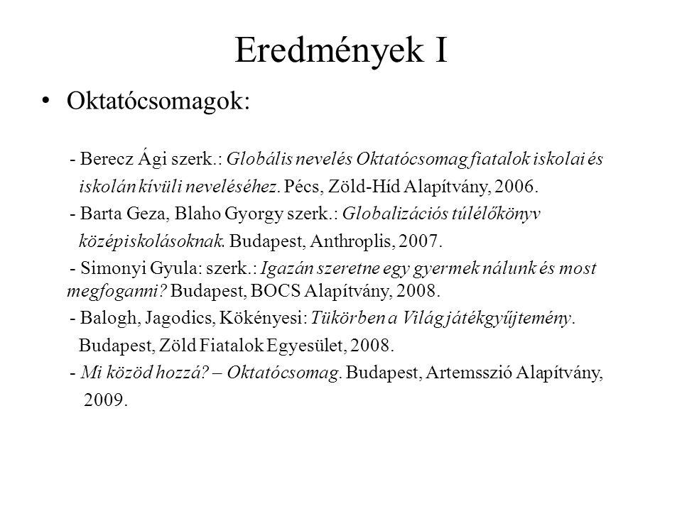Eredmények I • Oktatócsomagok: - Berecz Ági szerk.: Globális nevelés Oktatócsomag fiatalok iskolai és iskolán kívüli neveléséhez. Pécs, Zöld-Híd Alapí