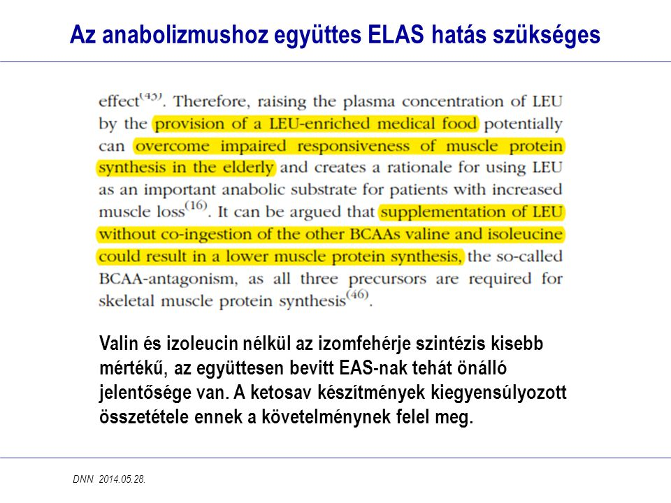 Az anabolizmushoz együttes ELAS hatás szükséges Valin és izoleucin nélkül az izomfehérje szintézis kisebb mértékű, az együttesen bevitt EAS-nak tehát önálló jelentősége van.