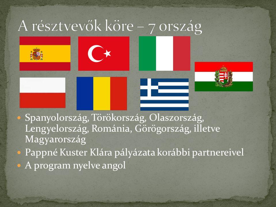  Spanyolország, Törökország, Olaszország, Lengyelország, Románia, Görögország, illetve Magyarország  Pappné Kuster Klára pályázata korábbi partnerei