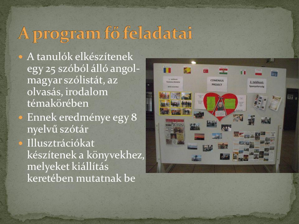  A tanulók elkészítenek egy 25 szóból álló angol- magyar szólistát, az olvasás, irodalom témakörében  Ennek eredménye egy 8 nyelvű szótár  Illusztr