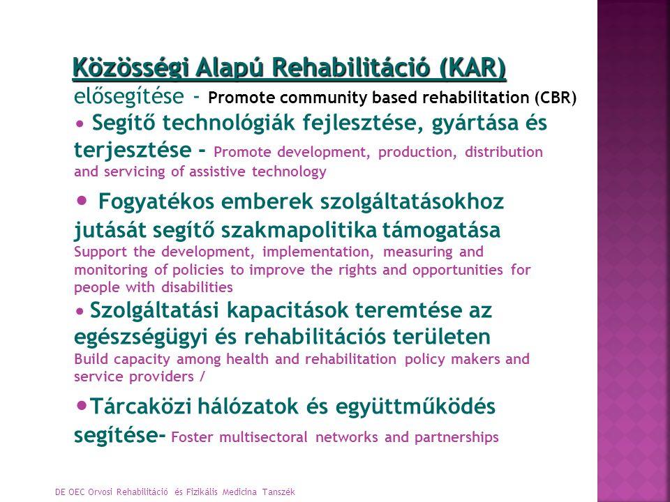DE OEC Orvosi Rehabilitáció és Fizikális Medicina Tanszék Közösségi Alapú Rehabilitáció (KAR) Közösségi Alapú Rehabilitáció (KAR) elősegítése - Promot