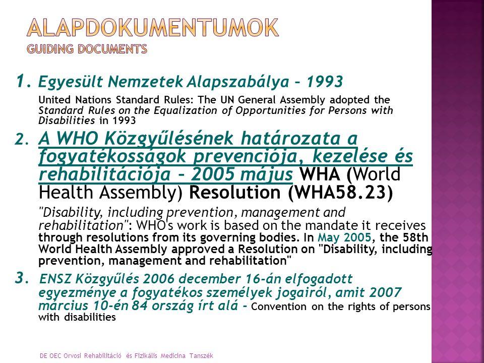 DE OEC Orvosi Rehabilitáció és Fizikális Medicina Tanszék 1. Egyesült Nemzetek Alapszabálya – 1993 United Nations Standard Rules: The UN General Assem