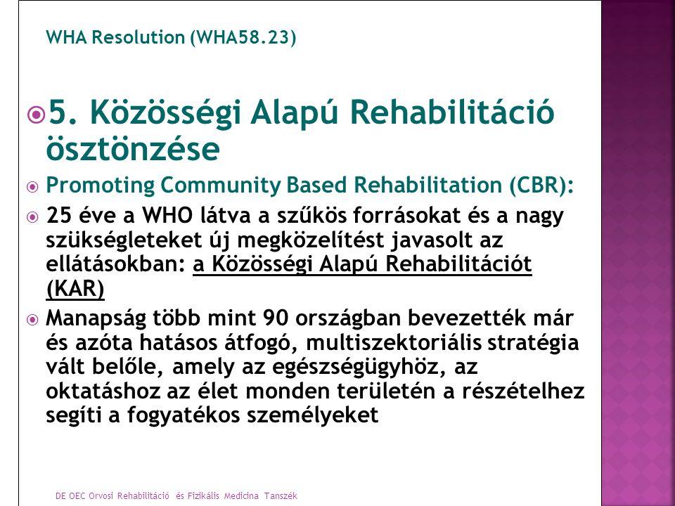 DE OEC Orvosi Rehabilitáció és Fizikális Medicina Tanszék WHA Resolution (WHA58.23)  5. Közösségi Alapú Rehabilitáció ösztönzése  Promoting Communit