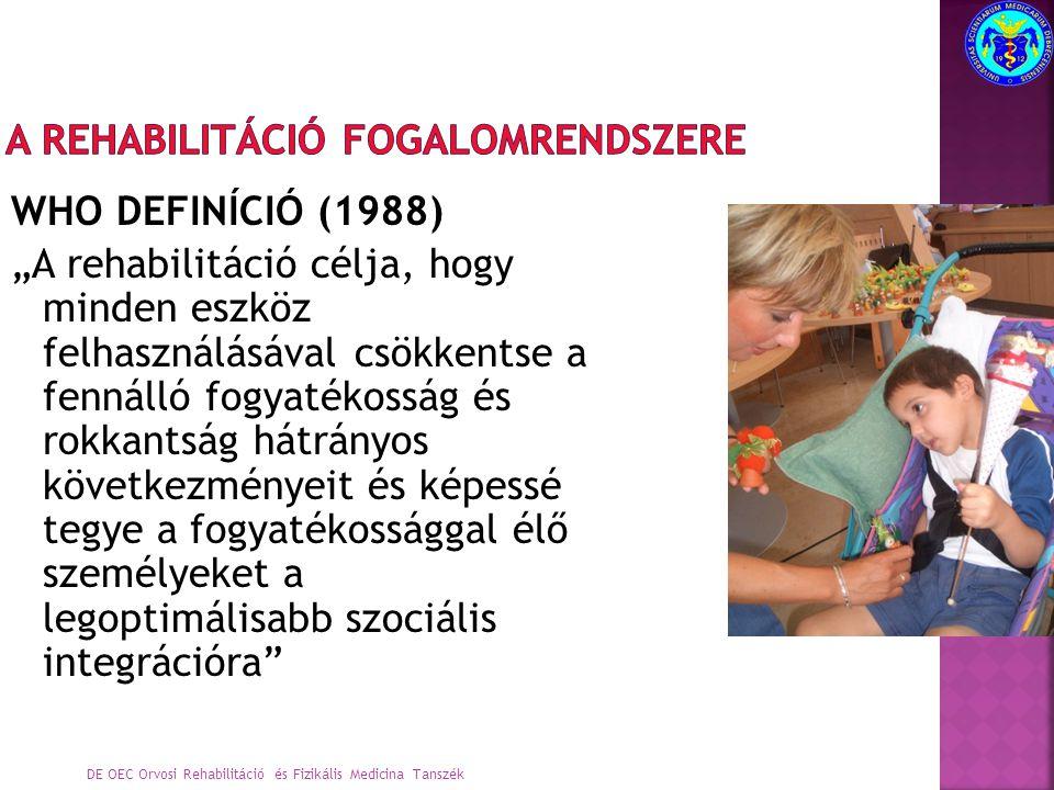 """WHO DEFINÍCIÓ (1988) """"A rehabilitáció célja, hogy minden eszköz felhasználásával csökkentse a fennálló fogyatékosság és rokkantság hátrányos következményeit és képessé tegye a fogyatékossággal élő személyeket a legoptimálisabb szociális integrációra Integratív társadalmi modell DE OEC Orvosi Rehabilitáció és Fizikális Medicina Tanszék"""