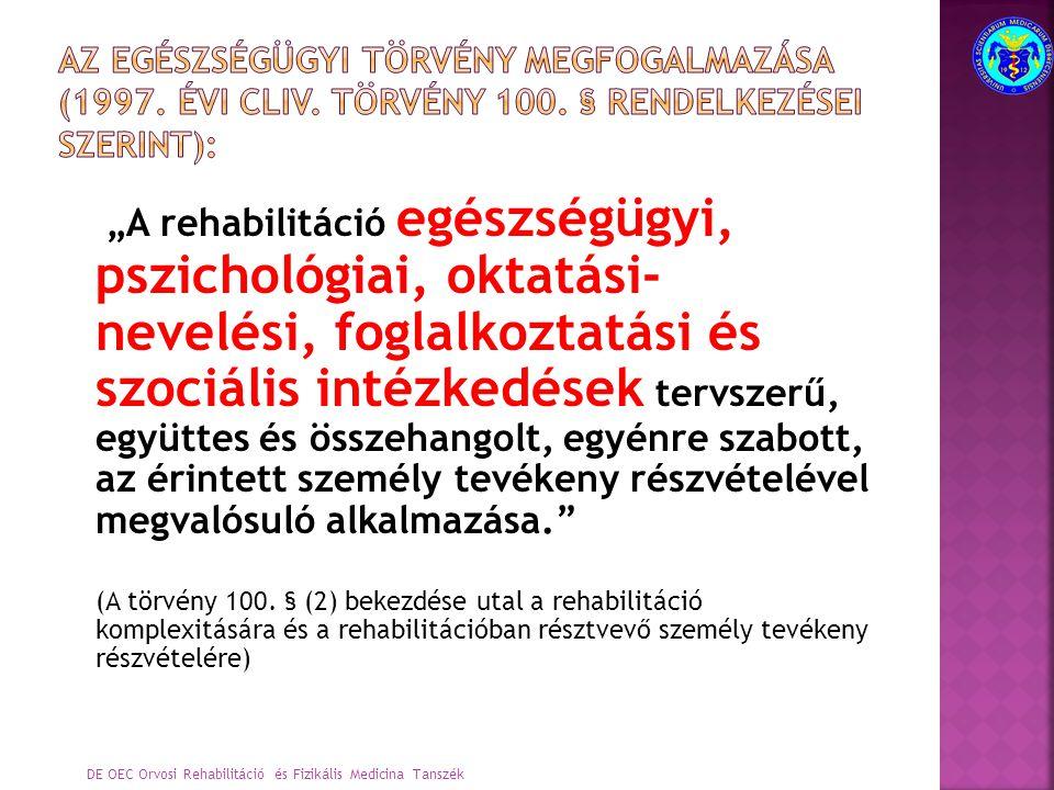 Összetevői:  egészségügyi  pszichológiai  oktatási-nevelési  foglalkoztatási  szociális Kritériumai:  tervszerű  együttes  összehangolt  egyénre szabott  az érintett személy tevékeny részvétele Átfogó rehabilitáció Egészségügyi (pszichológiai) szociális Oktatás- nevelési (pedagógiai) foglalkoztatási DE OEC Orvosi Rehabilitáció és Fizikális Medicina Tanszék