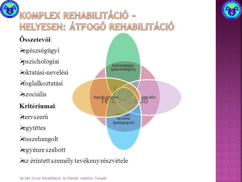 Összetevői:  egészségügyi  pszichológiai  oktatási-nevelési  foglalkoztatási  szociális Kritériumai:  tervszerű  együttes  összehangolt  egyé