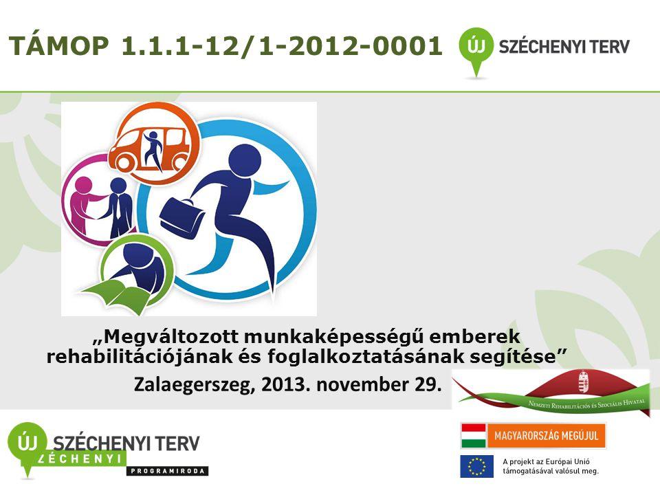 """A projekt célja TÁMOP-1.1.1-12/1-2012-0001 """"Megváltozott munkaképességű személyek rehabilitációjának és foglalkoztatásának elősegítése című kiemelt projekt Célja: a megváltozott munkaképességű személyek sikeres rehabilitációjának és munkaerő-piaci integrációjának elősegítése."""