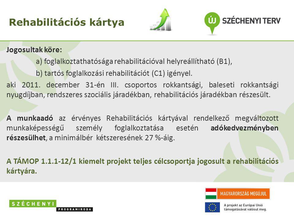 Rehabilitációs kártya Jogosultak köre: a) foglalkoztathatósága rehabilitációval helyreállítható (B1), b) tartós foglalkozási rehabilitációt (C1) igényel.