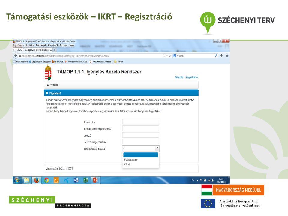 Támogatási eszközök – IKRT – Regisztráció
