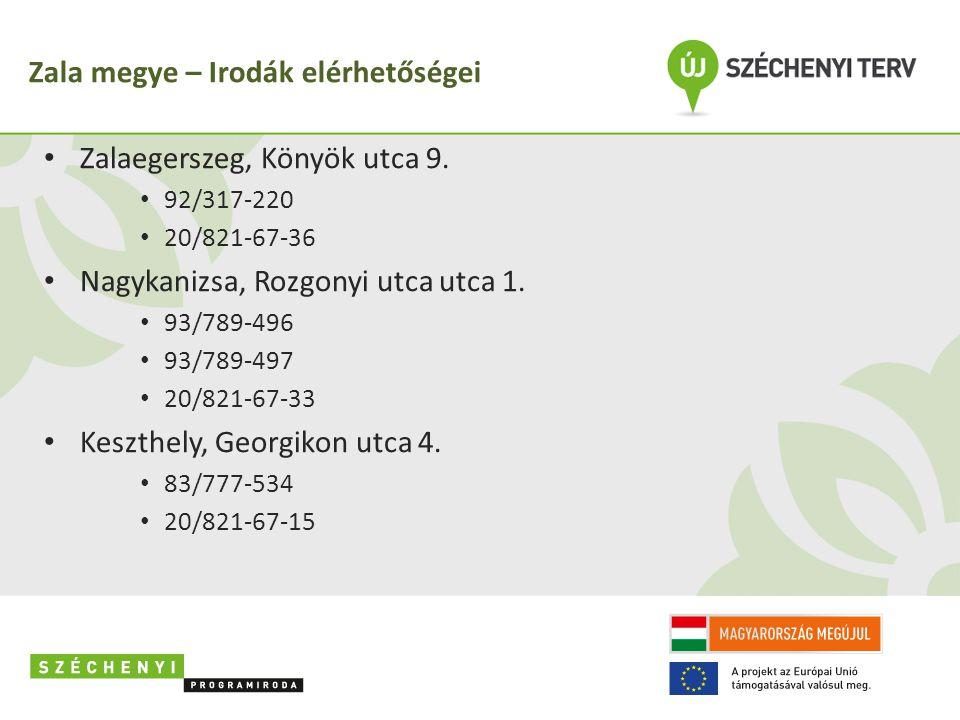 Zala megye – Irodák elérhetőségei • Zalaegerszeg, Könyök utca 9.
