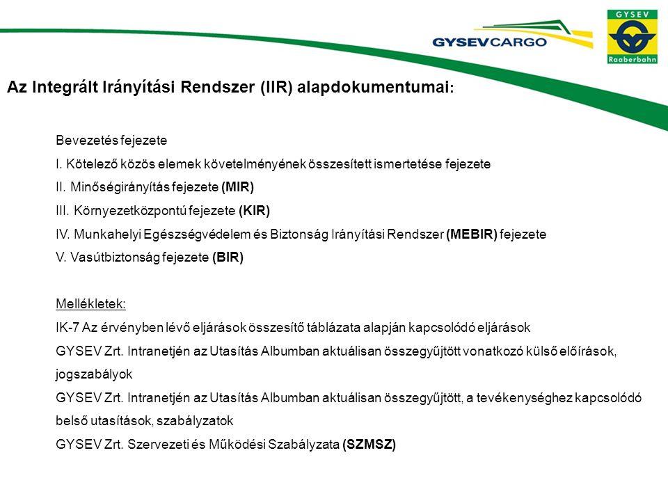 Az Integrált Irányítási Rendszer (IIR) alapdokumentumai : Bevezetés fejezete I.