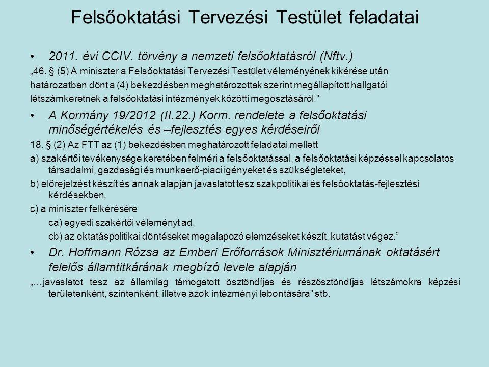 """Felsőoktatási Tervezési Testület feladatai •2011. évi CCIV. törvény a nemzeti felsőoktatásról (Nftv.) """"46. § (5) A miniszter a Felsőoktatási Tervezési"""