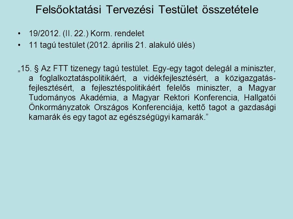 """Felsőoktatási Tervezési Testület összetétele •19/2012. (II. 22.) Korm. rendelet •11 tagú testület (2012. április 21. alakuló ülés) """"15. § Az FTT tizen"""