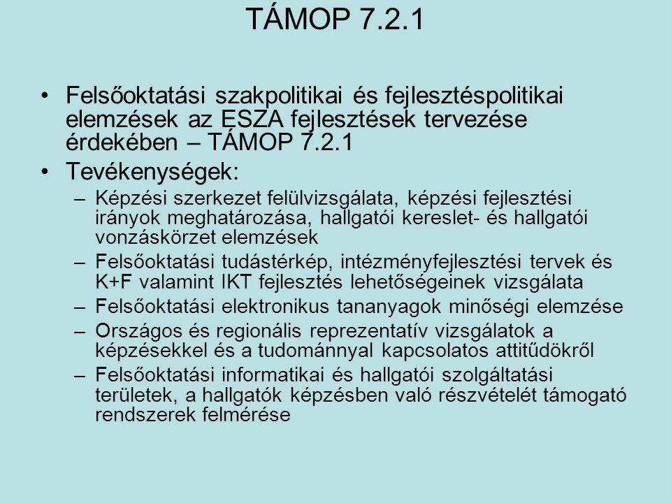 TÁMOP 7.2.1 •Felsőoktatási szakpolitikai és fejlesztéspolitikai elemzések az ESZA fejlesztések tervezése érdekében – TÁMOP 7.2.1 •Tevékenységek: –Képz