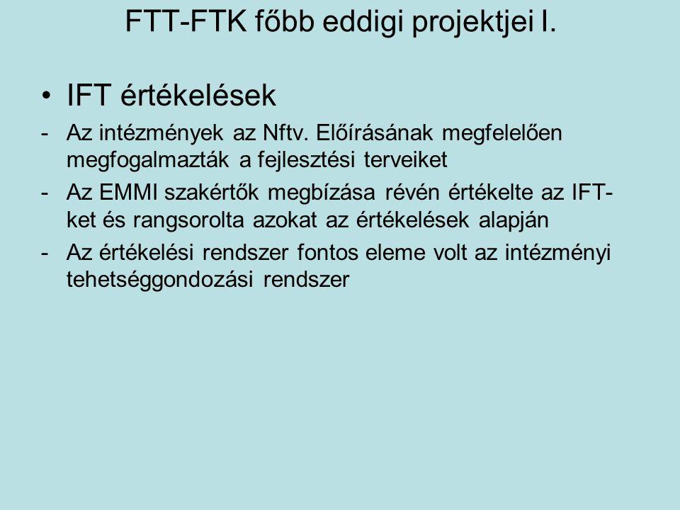 FTT-FTK főbb eddigi projektjei I. •IFT értékelések -Az intézmények az Nftv. Előírásának megfelelően megfogalmazták a fejlesztési terveiket -Az EMMI sz