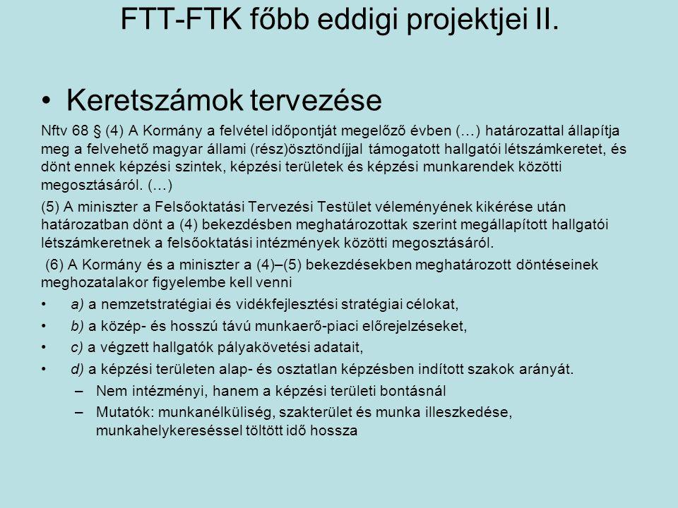 FTT-FTK főbb eddigi projektjei II. •Keretszámok tervezése Nftv 68 § (4) A Kormány a felvétel időpontját megelőző évben (…) határozattal állapítja meg