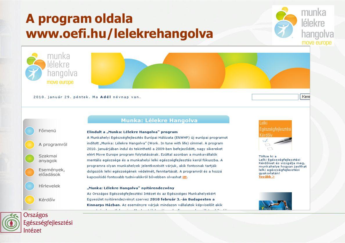 A program oldala www.oefi.hu/lelekrehangolva