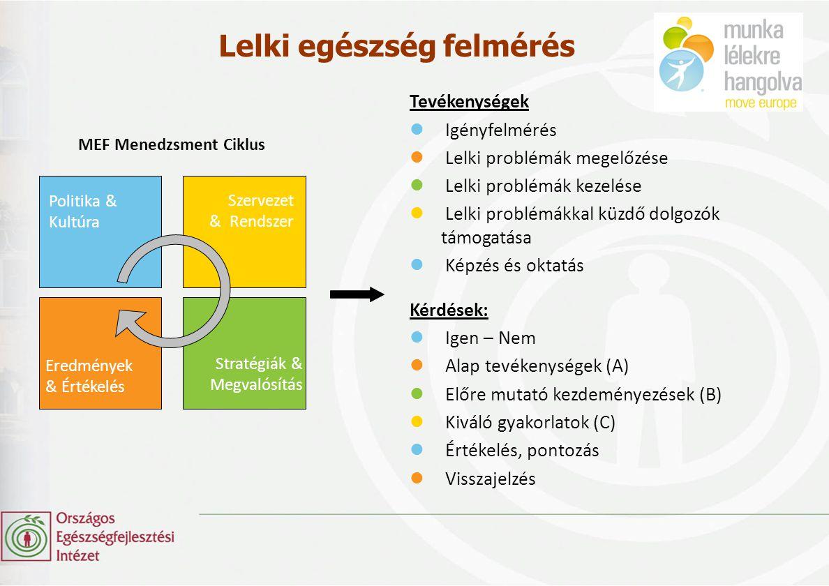 MEF Menedzsment Ciklus Politika & Kultúra Szervezet & Rendszer Stratégiák & Megvalósítás Eredmények & Értékelés Lelki egészség felmérés Tevékenységek
