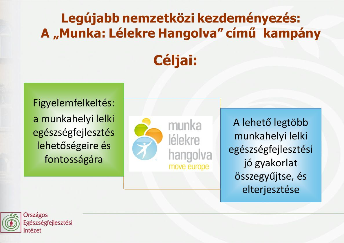 """Legújabb nemzetközi kezdeményezés: A """"Munka: Lélekre Hangolva"""" című kampány Figyelemfelkeltés: a munkahelyi lelki egészségfejlesztés lehetőségeire és"""