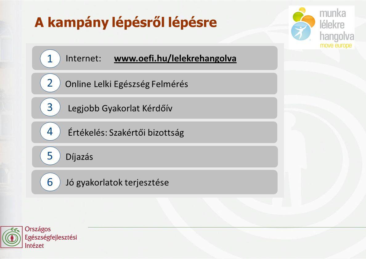 A kampány lépésről lépésre Internet: www.oefi.hu/lelekrehangolvawww.oefi.hu/lelekrehangolva Online Lelki Egészség Felmérés Díjazás 1 2 Legjobb Gyakorl
