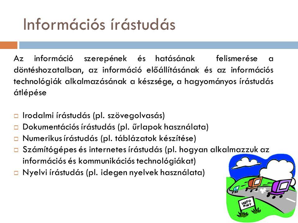 Információs írástudás Az információ szerepének és hatásának felismerése a döntéshozatalban, az információ előállításának és az információs technológiák alkalmazásának a készsége, a hagyományos írástudás átlépése  Irodalmi írástudás (pl.