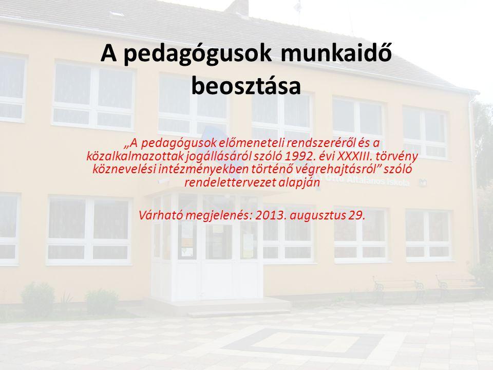 """A pedagógusok munkaidő beosztása """"A pedagógusok előmeneteli rendszeréről és a közalkalmazottak jogállásáról szóló 1992. évi XXXIII. törvény köznevelés"""