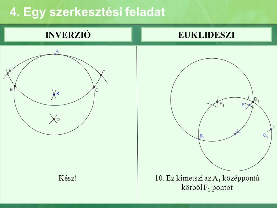 4. Egy szerkesztési feladat INVERZIÓEUKLIDESZI Kész!10. Ez kimetszi az A 1 középpontú körből F 1 pontot
