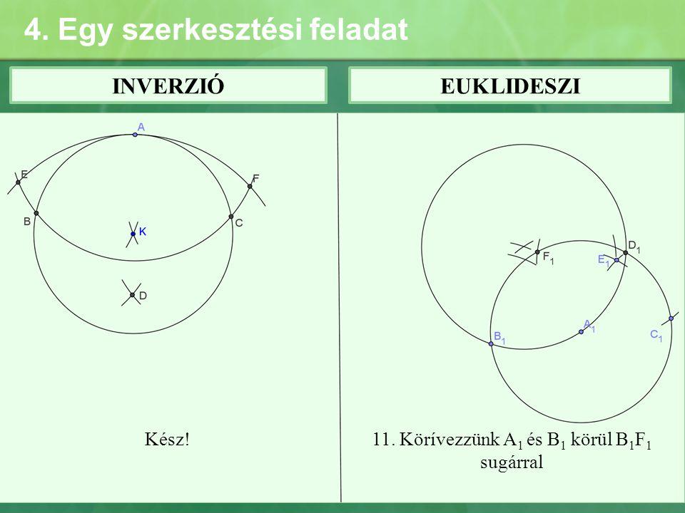 4. Egy szerkesztési feladat INVERZIÓEUKLIDESZI Kész!11. Körívezzünk A 1 és B 1 körül B 1 F 1 sugárral