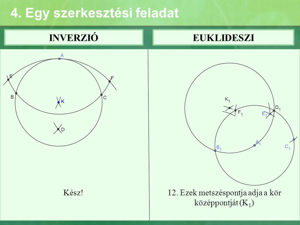 4. Egy szerkesztési feladat INVERZIÓEUKLIDESZI Kész!12. Ezek metszéspontja adja a kör középpontját (K 1 )