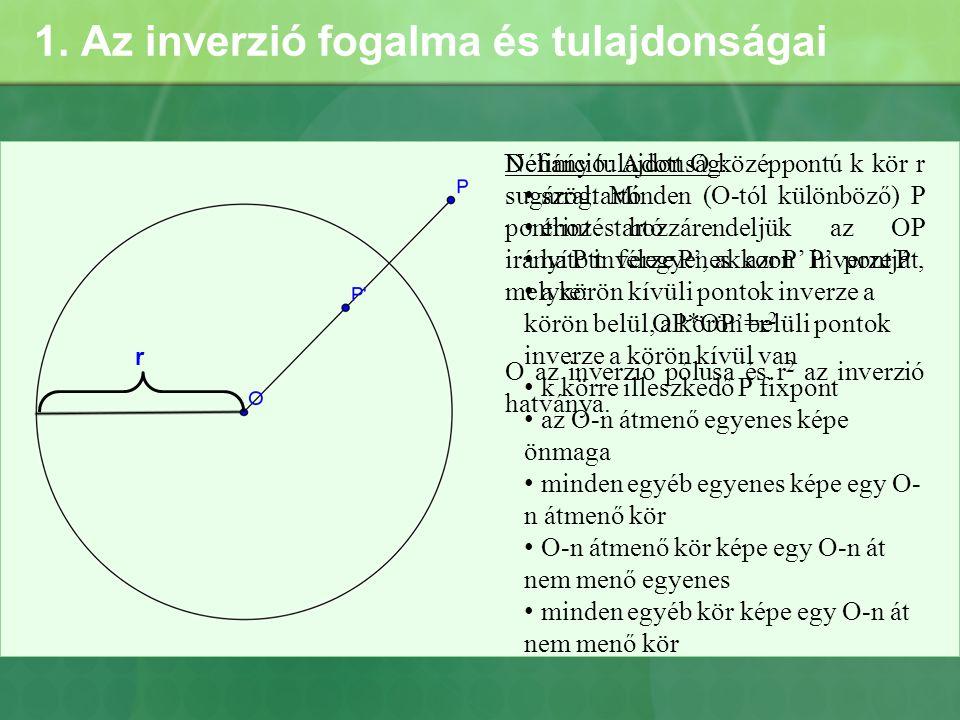 1. Az inverzió fogalma és tulajdonságai r Definíció: Adott O középpontú k kör r sugárral. Minden (O-tól különböző) P ponthoz hozzárendeljük az OP irán