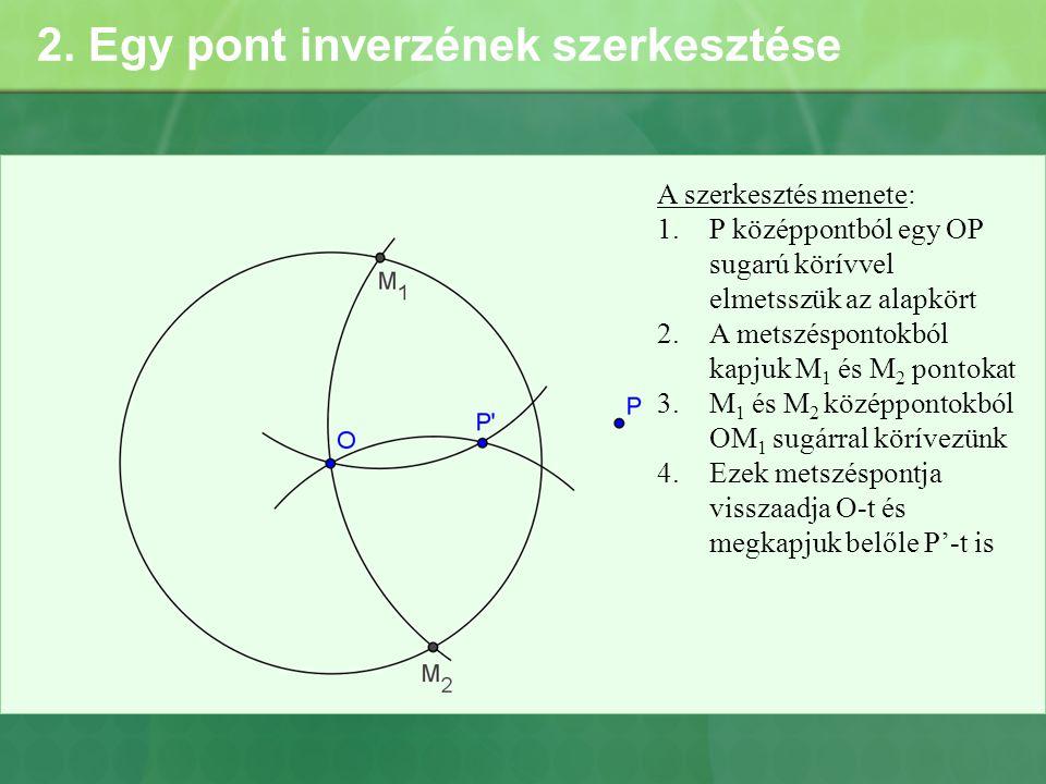 2. Egy pont inverzének szerkesztése A szerkesztés menete: 1.P középpontból egy OP sugarú körívvel elmetsszük az alapkört 2.A metszéspontokból kapjuk M