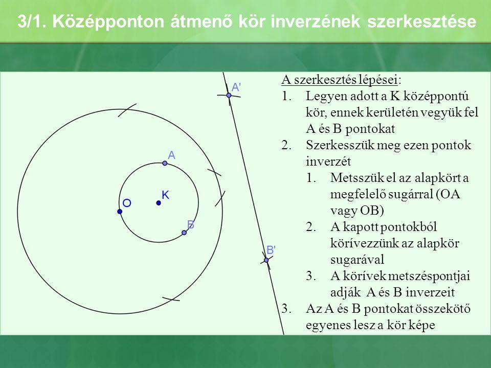3/1. Középponton átmenő kör inverzének szerkesztése A szerkesztés lépései: 1.Legyen adott a K középpontú kör, ennek kerületén vegyük fel A és B pontok
