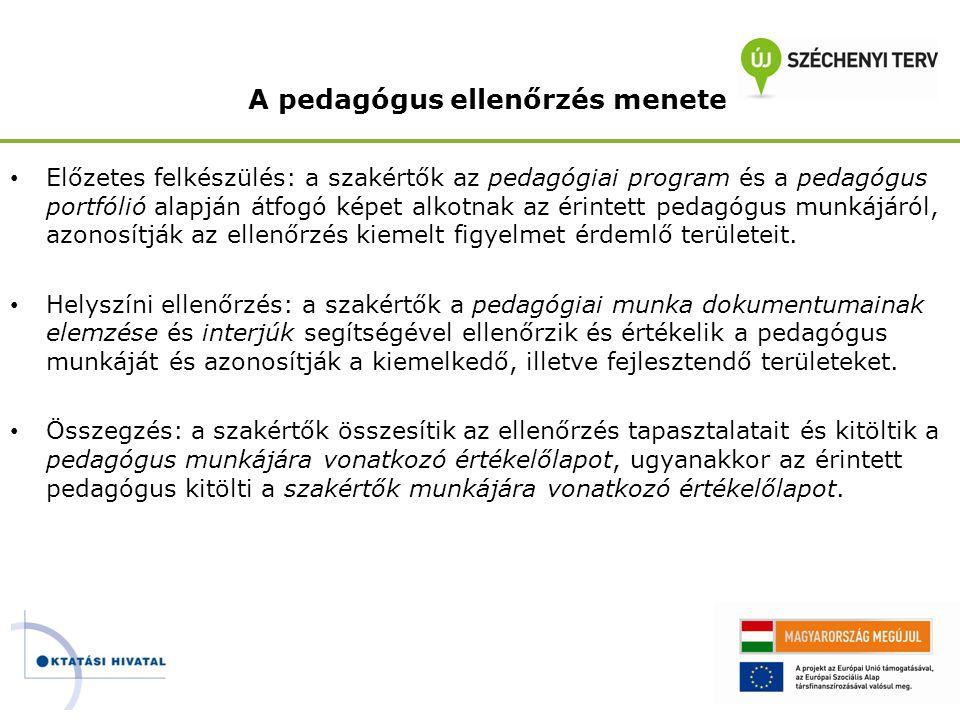 A pedagógus ellenőrzés menete • Előzetes felkészülés: a szakértők az pedagógiai program és a pedagógus portfólió alapján átfogó képet alkotnak az érin