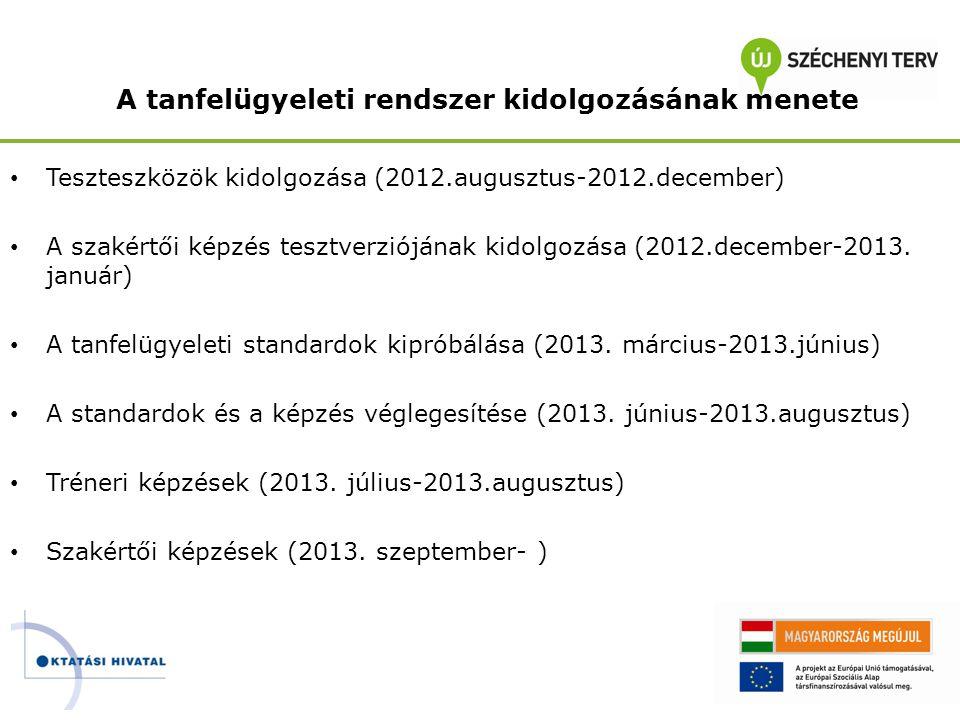 A tanfelügyeleti rendszer kidolgozásának menete • Teszteszközök kidolgozása (2012.augusztus-2012.december) • A szakértői képzés tesztverziójának kidol