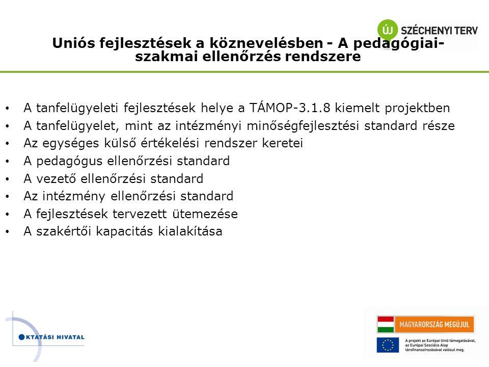 TÁMOP 3.1.8 – Az ellenőrzési rendszer kidolgozása A köznevelés minőségének fejlesztése A tanulói teljesítménymérés rendszerének fejlesztése Az intézményi külső és belső értékelési rendszerek fejlesztése A Magyar Képesítési Keretrendszer fejlesztése