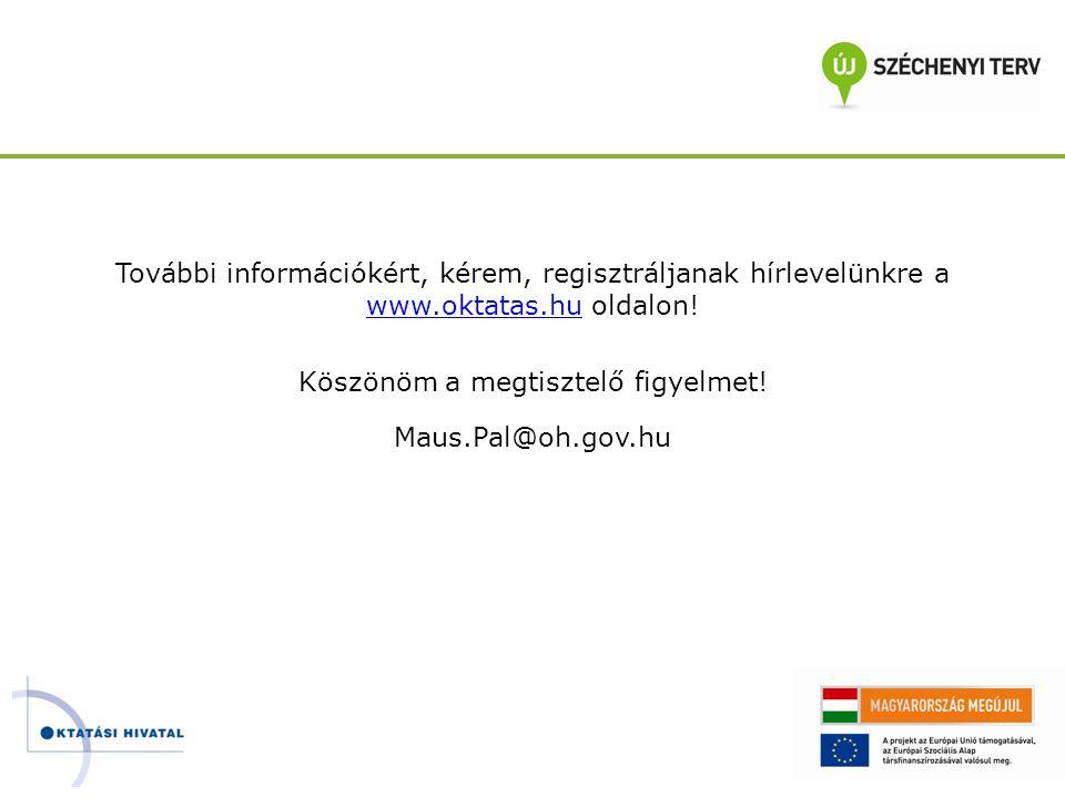 További információkért, kérem, regisztráljanak hírlevelünkre a www.oktatas.hu oldalon! www.oktatas.hu Köszönöm a megtisztelő figyelmet! Maus.Pal@oh.go