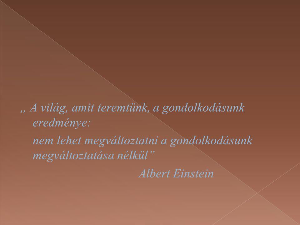 """"""" A világ, amit teremtünk, a gondolkodásunk eredménye: nem lehet megváltoztatni a gondolkodásunk megváltoztatása nélkül"""" Albert Einstein"""