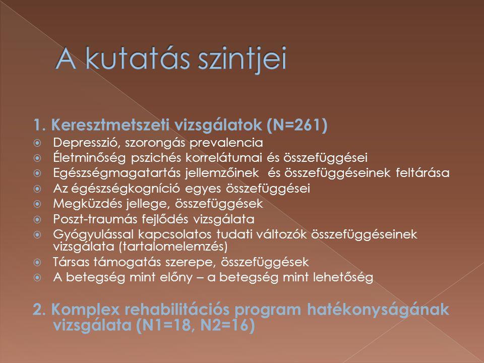 1. Keresztmetszeti vizsgálatok (N=261)  Depresszió, szorongás prevalencia  Életminőség pszichés korrelátumai és összefüggései  Egészségmagatartás j